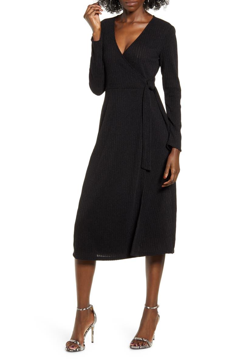 ALL IN FAVOR Wrap Front Midi Dress, Main, color, BLACK
