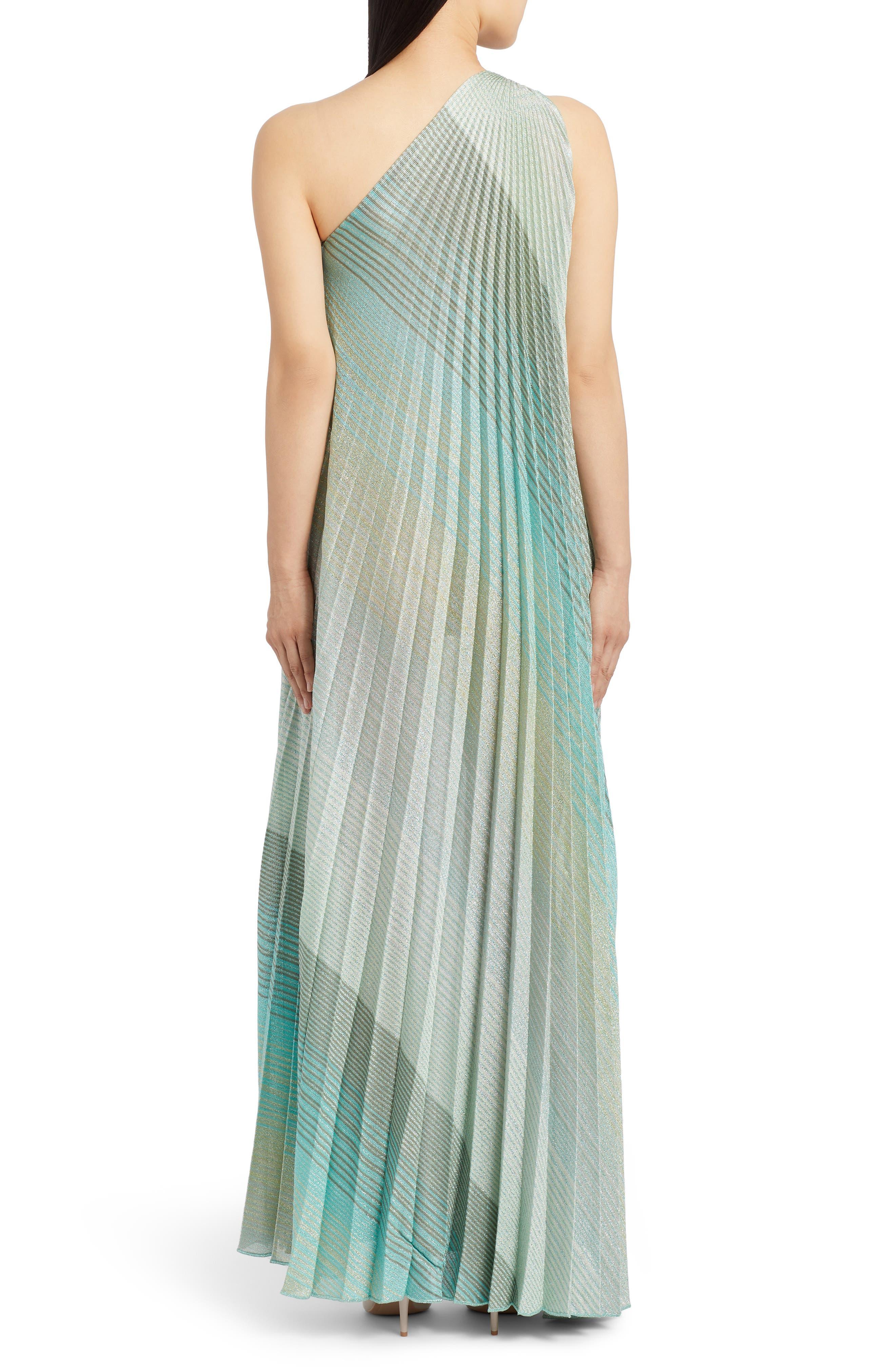 Missoni Dresses One-Shoulder Plissé Metallic Stripe Knit Gown