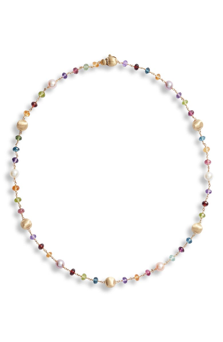 MARCO BICEGO Africa Semiprecious Stone & Pearl Necklace, Main, color, YELLOW GOLD/ MULTI