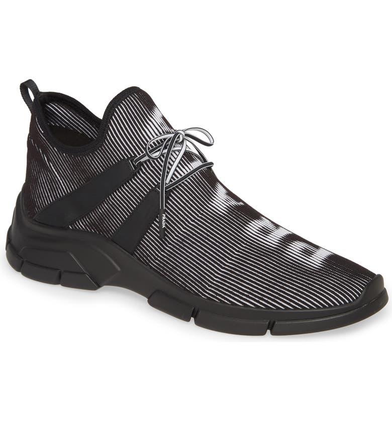 PRADA Hologram Knit Sneaker, Main, color, NERO