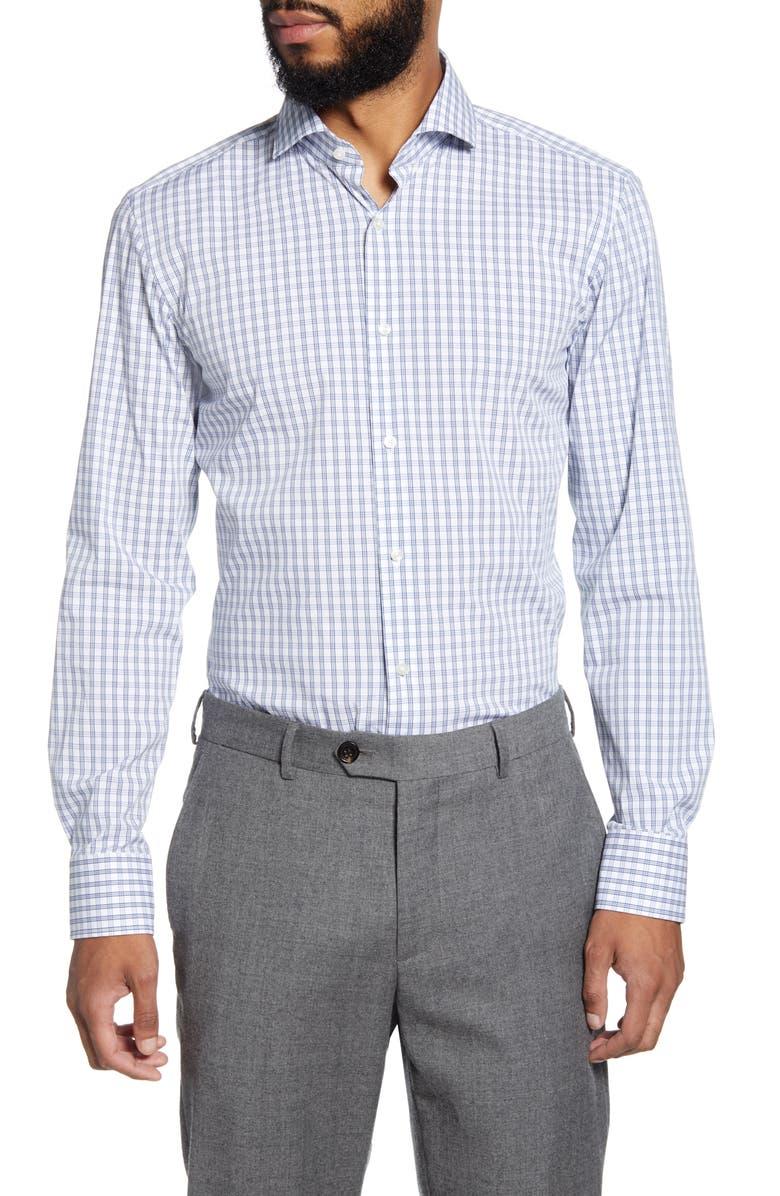 BOSS Slim Fit Stretch Plaid Dress Shirt, Main, color, 460