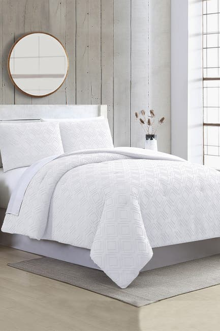 Image of Modern Threads 3-Piece Clipped Jacquard Comforter Set - Ethos White - Queen