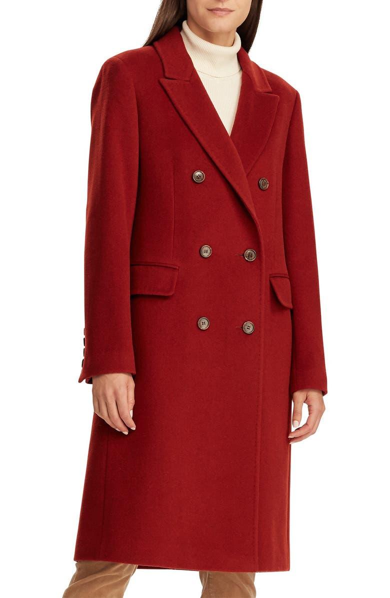 LAUREN RALPH LAUREN Double Breasted Reefer Coat, Main, color, SIENNA
