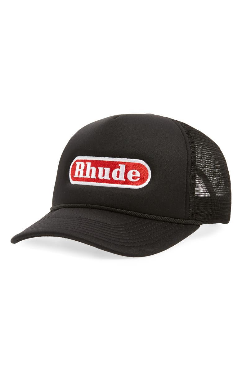 RHUDE Pit Stop Trucker Hat, Main, color, 001