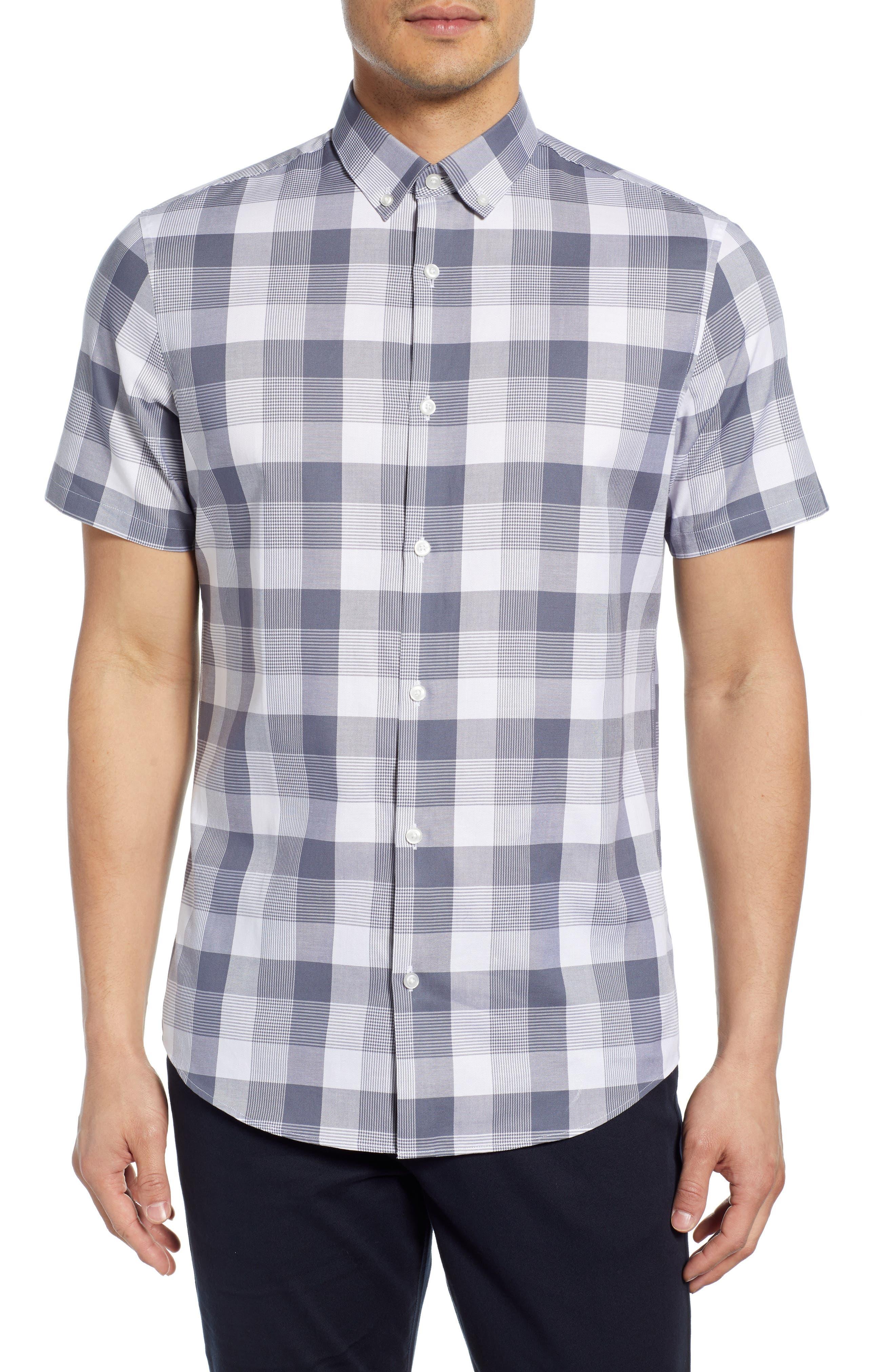 Calibrate Slim Fit Check Short Sleeve Button-Down Sport Shirt, Blue