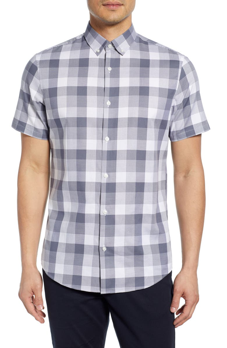 Slim Fit Check Short Sleeve Button Down Sport Shirt by Calibrate