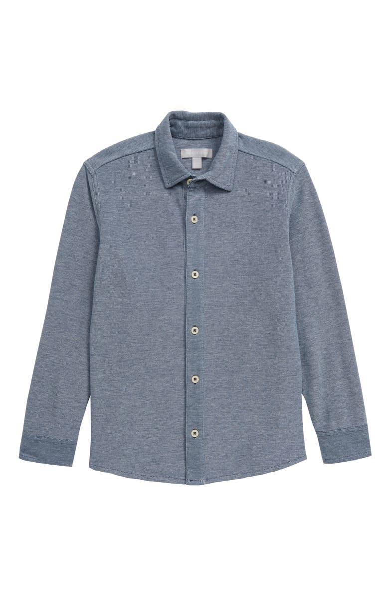 NORDSTROM Long Sleeve Button-Up Piqué Shirt, Main, color, NAVY DENIM