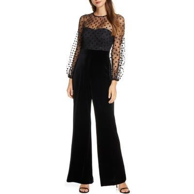 Eliza J Flocked Dot Mesh & Velvet Long Sleeve Jumpsuit, Black