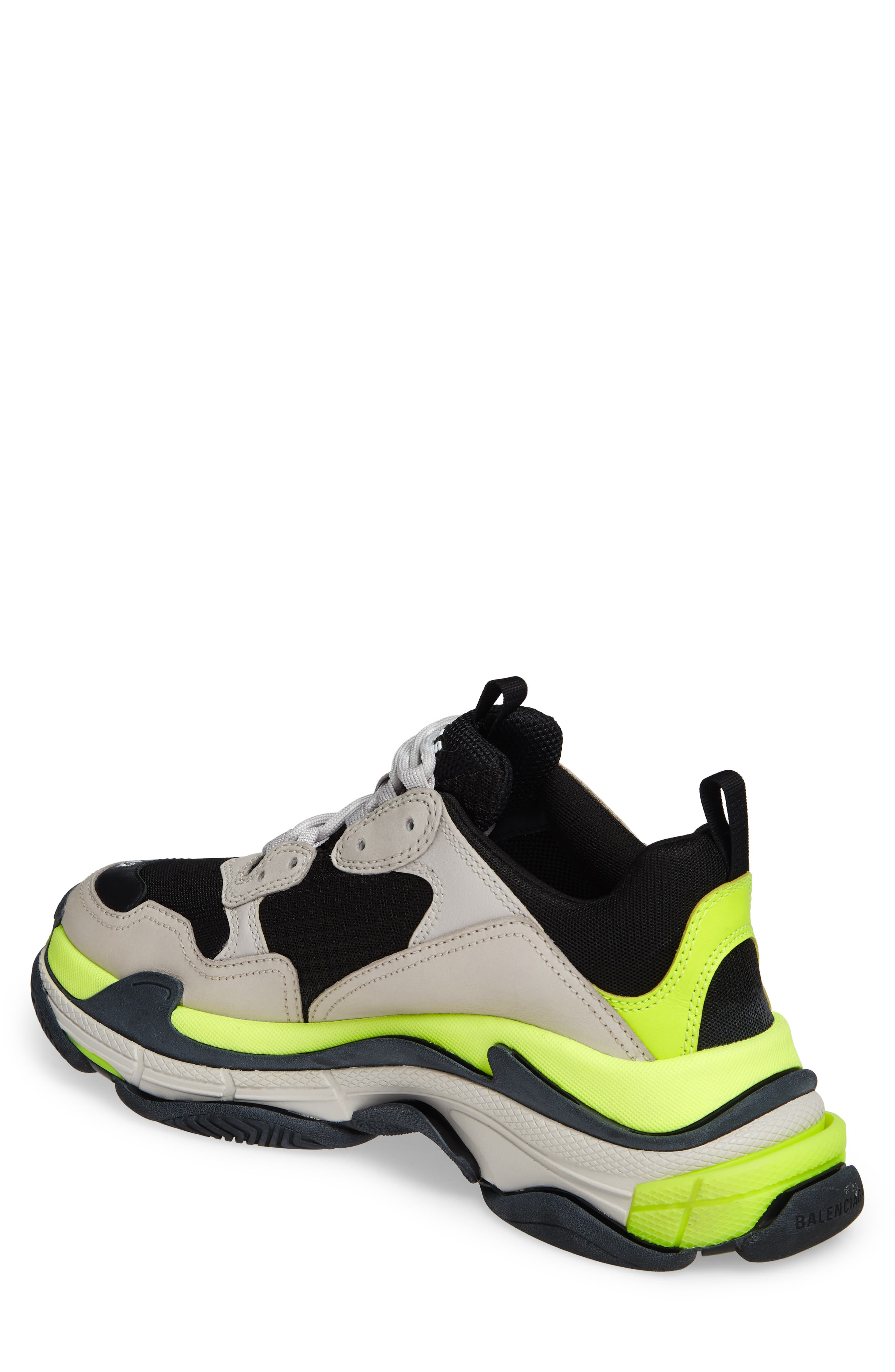 ,                             Triple S Retro Sneaker,                             Alternate thumbnail 2, color,                             GREY/ YELLOW FLUO