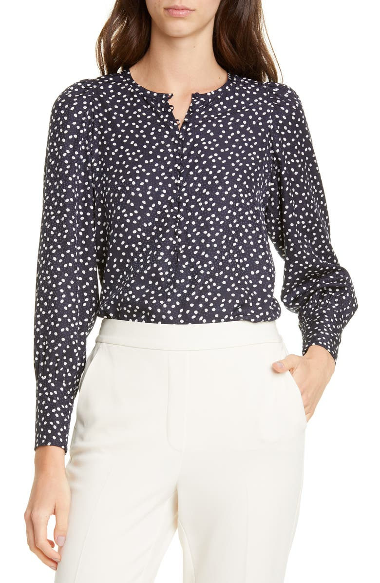TAILORED BY REBECCA TAYLOR Pearl Dot Long Sleeve Silk Blend Top, Main, color, NAVY COMBO