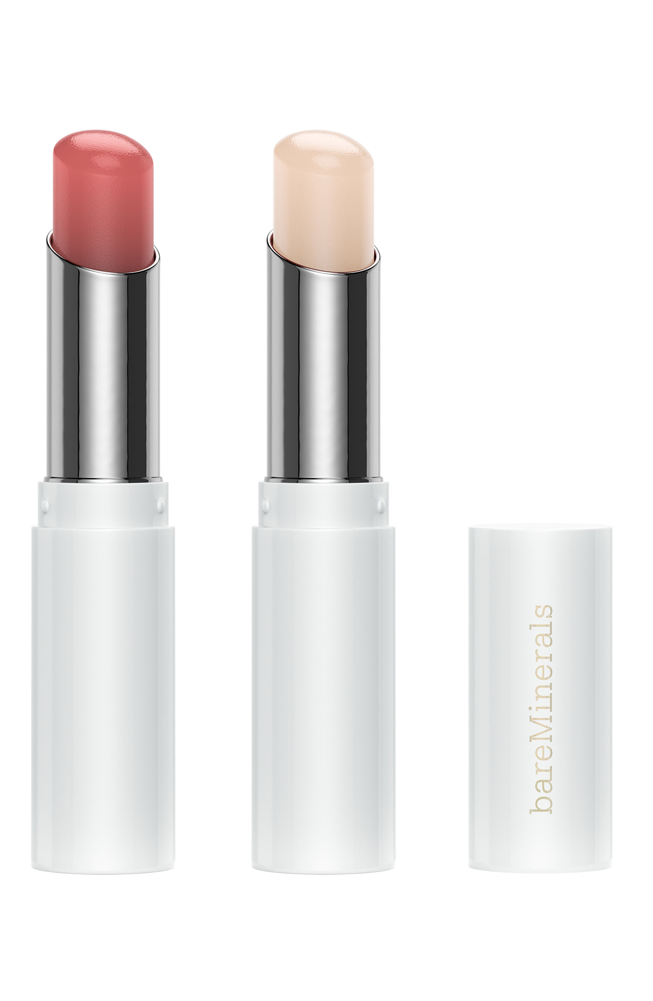 What it is: A limited-edition set featuring bareMinerals\\\' fan-favorite lip balm in clear and a new rosy nude. What it does: Kiss dry lips goodbye with this pair of refreshing minty lip balms, formulated with vitamin E to help moisturize and nourish. Set includes:- Lip Balm in Clear- Lip Balm in Rose NudeHow to use: Apply directly to lips. Style Name: Bareminerals Lip Balm Duo (USD $36 Value). Style Number: 6094685. Available in stores.