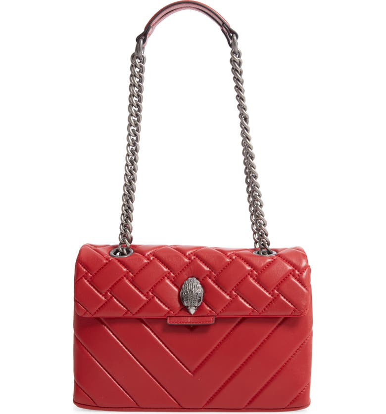 KURT GEIGER LONDON Kensington X Quilted Leather Shoulder Bag, Main, color, RED