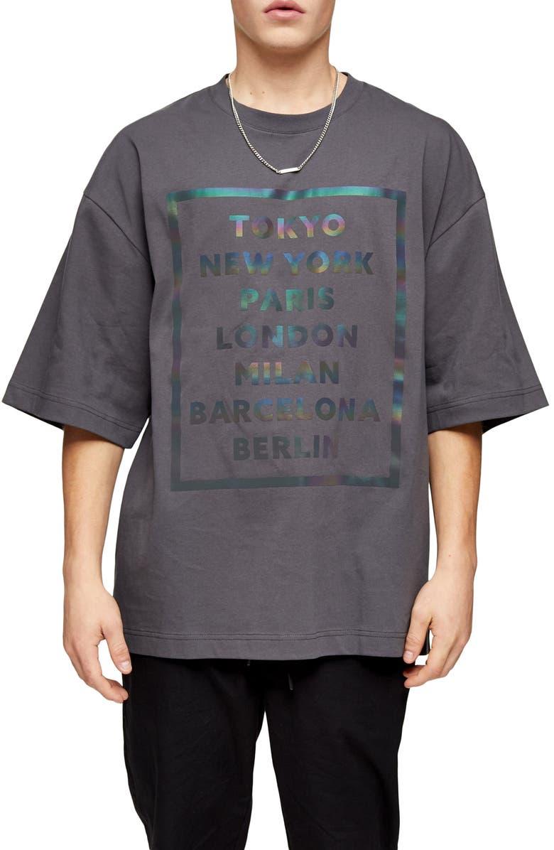 TOPMAN Oversize Reflective City Graphic T-Shirt, Main, color, GREY
