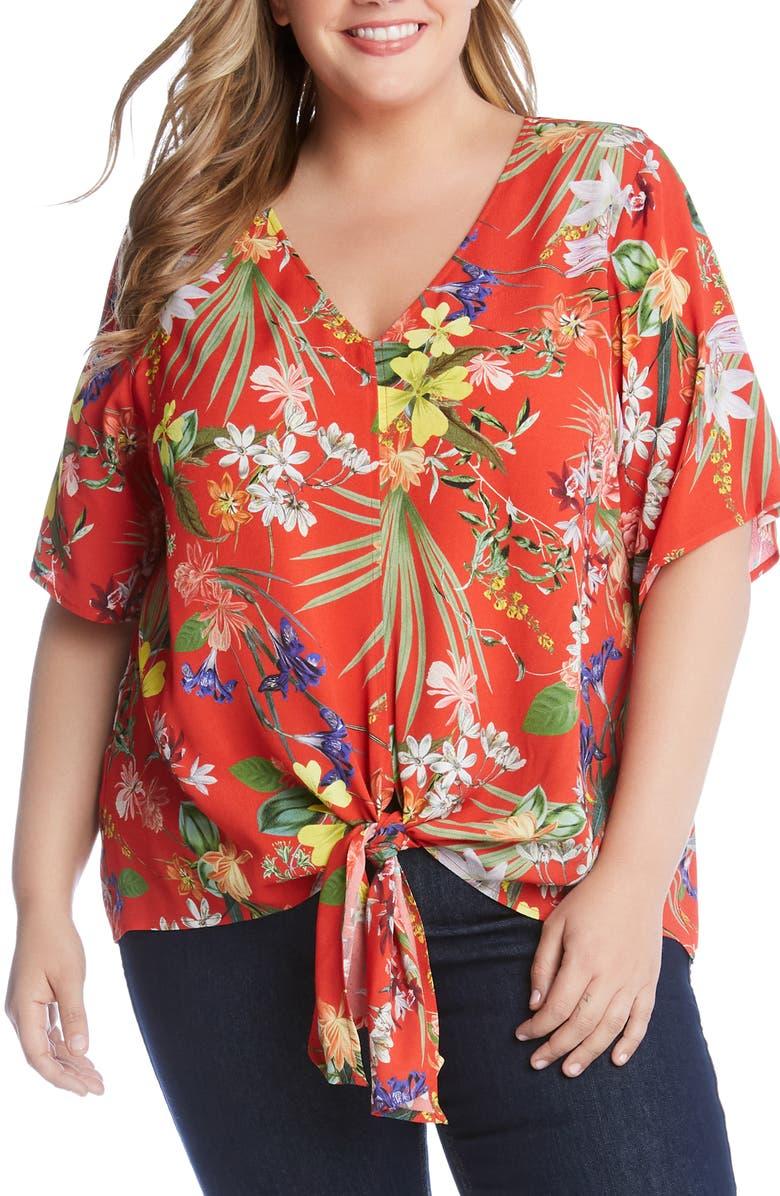 KAREN KANE Tie Front Floral Top, Main, color, 800