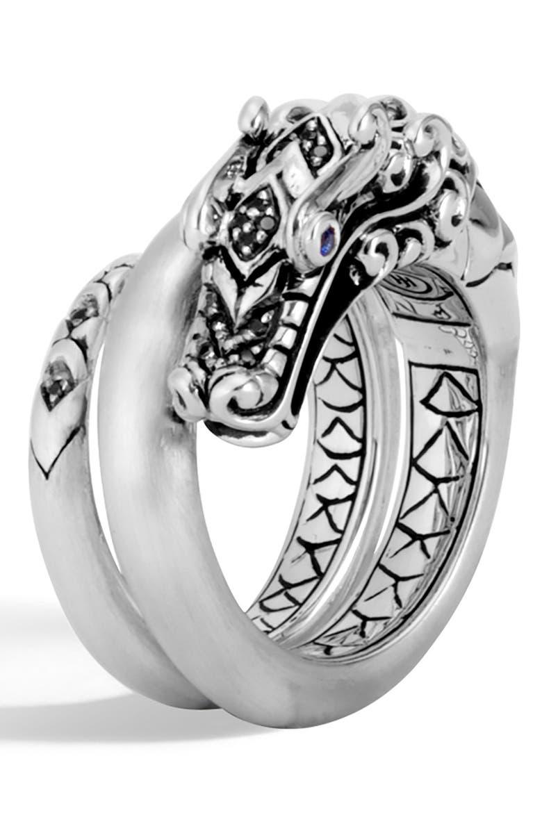 JOHN HARDY Legends Naga Brushed Coil Ring, Main, color, BLACK SPINEL/ BLUE SAPPHIRE