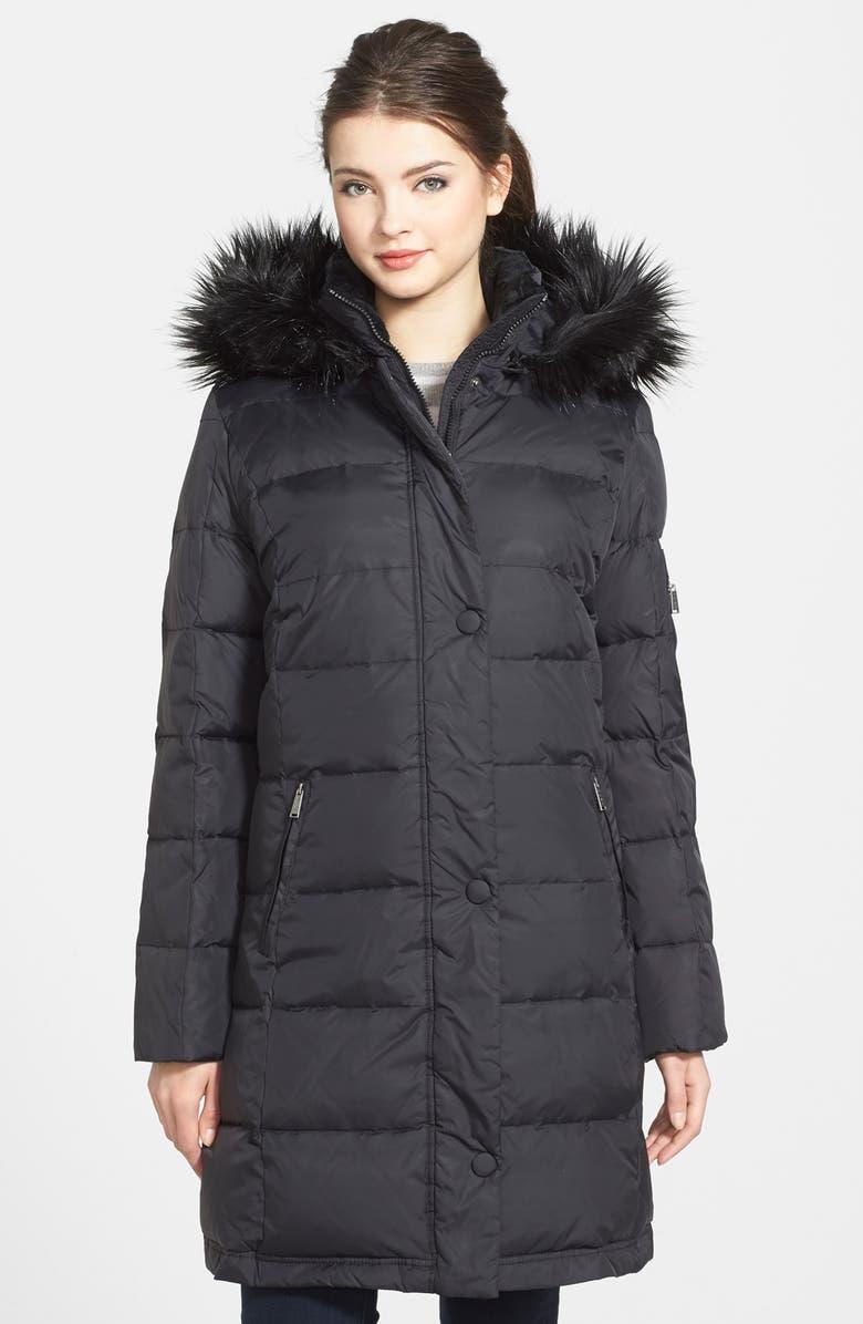 ec3a77a0a DKNY Faux Fur Trim Down & Feather Coat (Regular & Petite) | Nordstrom