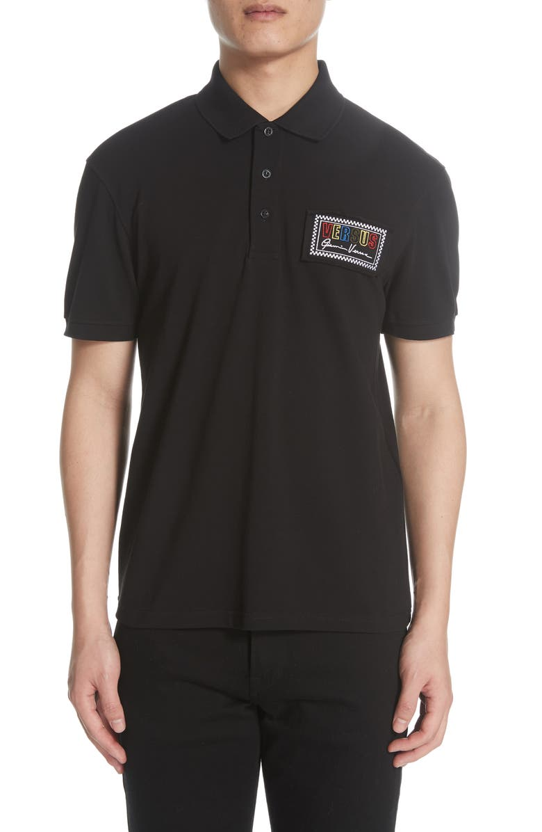 VERSUS VERSACE Logo Patch Polo, Main, color, 001