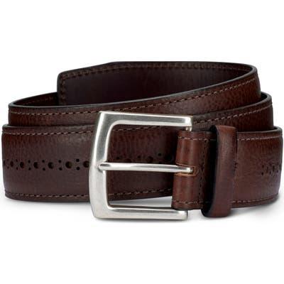 Allen Edmonds Brogue Street Leather Belt, Brown