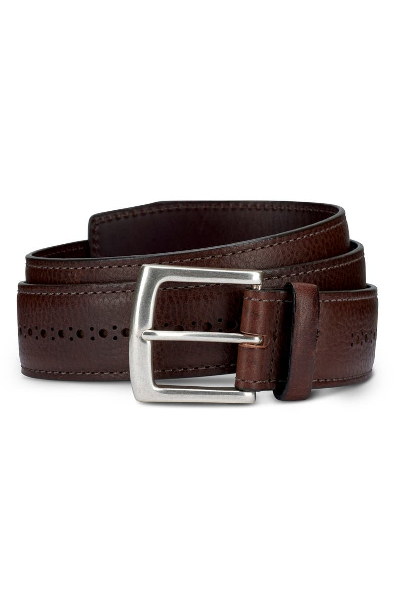 ALLEN EDMONDS Brogue Street Leather Belt, Main, color, BROWN