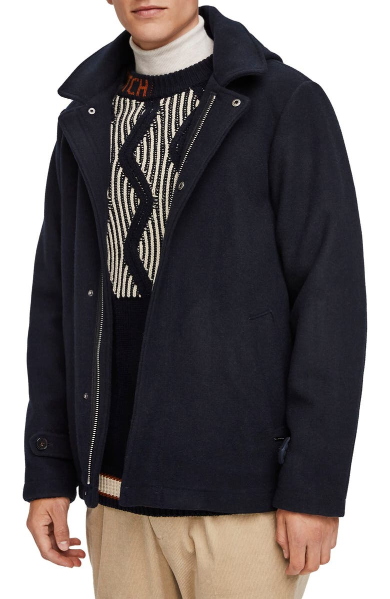 SCOTCH & SODA Wool Hooded Jacket, Main, color, NIGHT