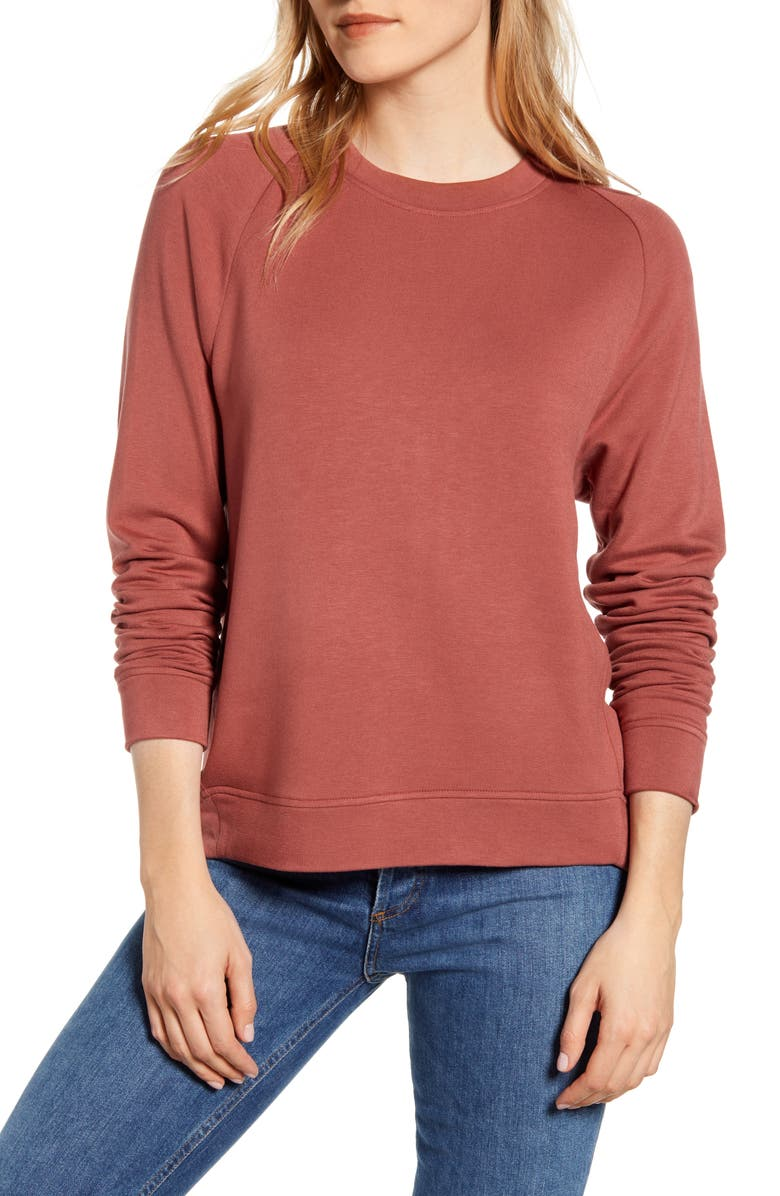 LOU & GREY Signaturesoft Plush Sweatshirt, Main, color, APPLE BUTTER