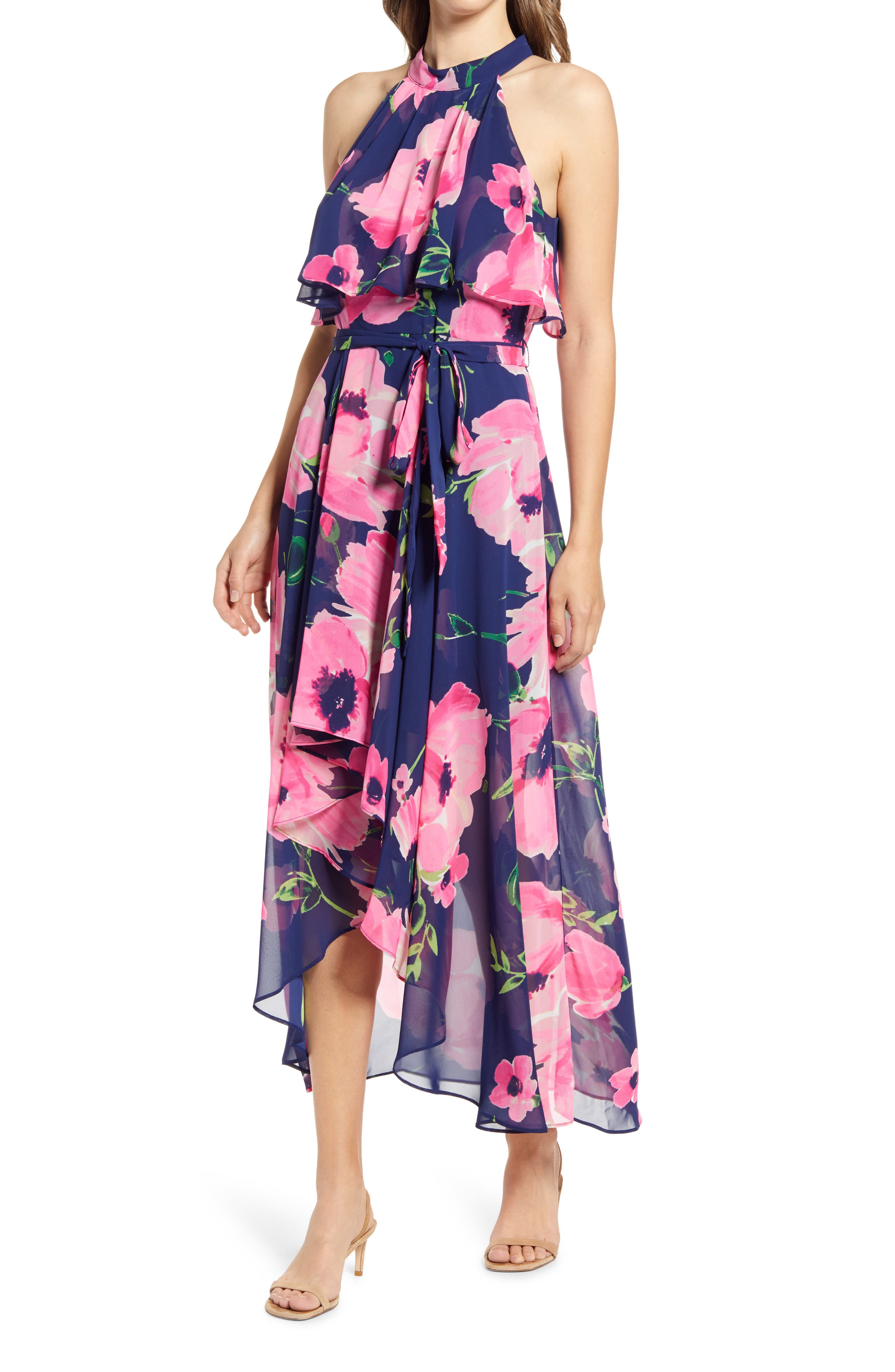 Floral Halter Neck Popover Chiffon Midi Dress