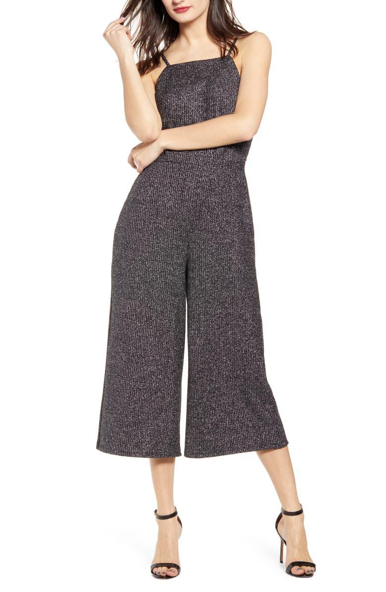 LOVE, FIRE Metallic Detail Halter Neck Crop Jumpsuit, Main, color, BLACK