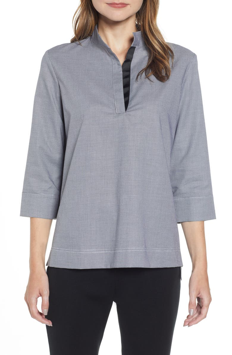 MING WANG Mini Houndstooth Tunic Blouse, Main, color, 002