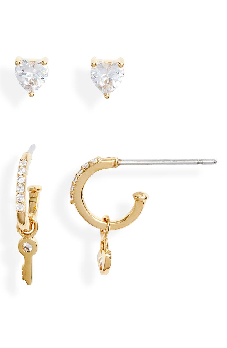 NORDSTROM Cubic Zirconia Stud & Charm Huggie Earring Set, Main, color, CLEAR- GOLD