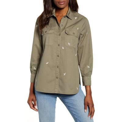 Lucky Brand Embroidered Utility Shirt Jacket, Green
