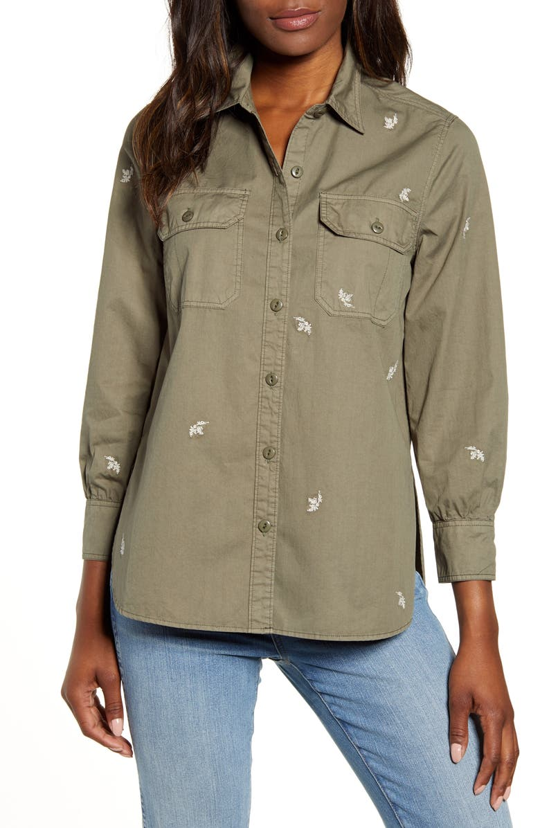 Lucky Brand Embroidered Utility Shirt Jacket | Nordstrom