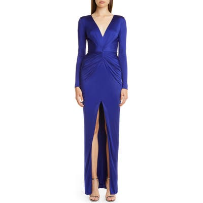 Haney Gathered Slit Front Long Sleeve Gown, Blue