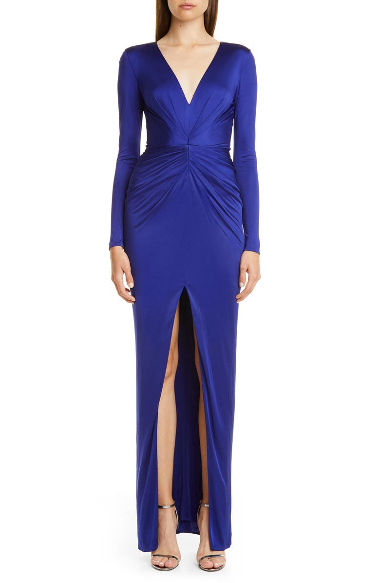 HANEY Gathered Slit Front Long Sleeve Gown, Main, color, COBALT