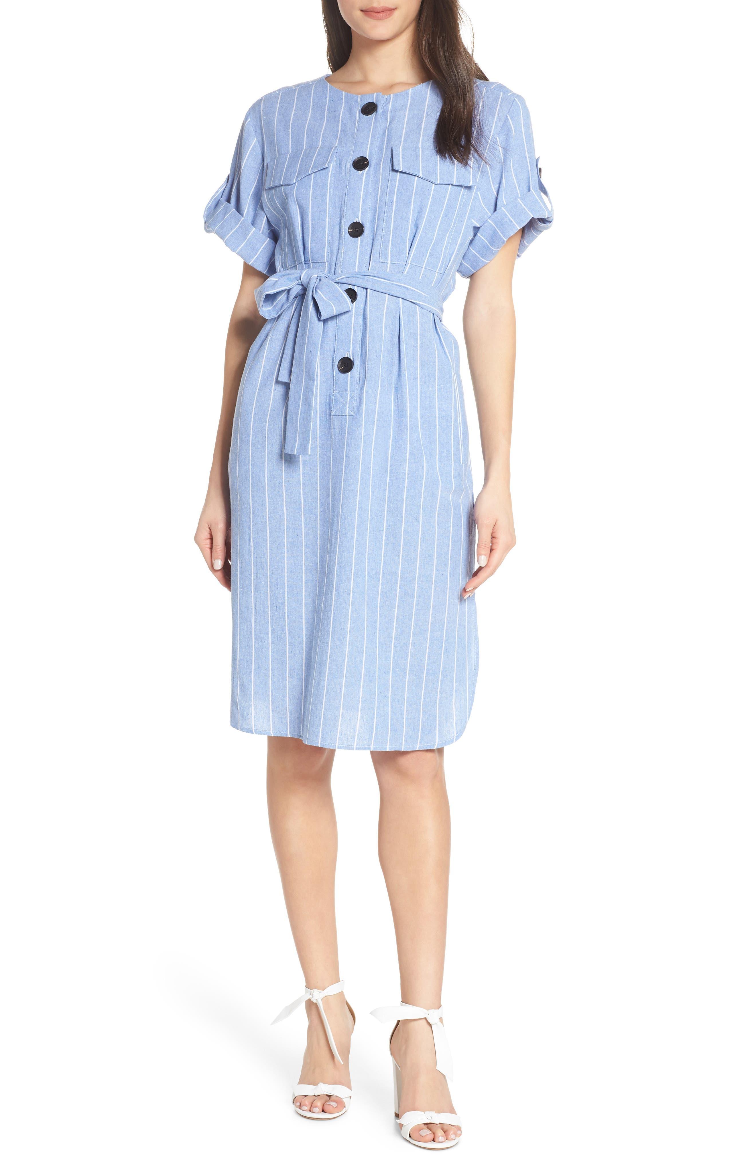 Caara Fay Stripe Button Front Dress, Blue