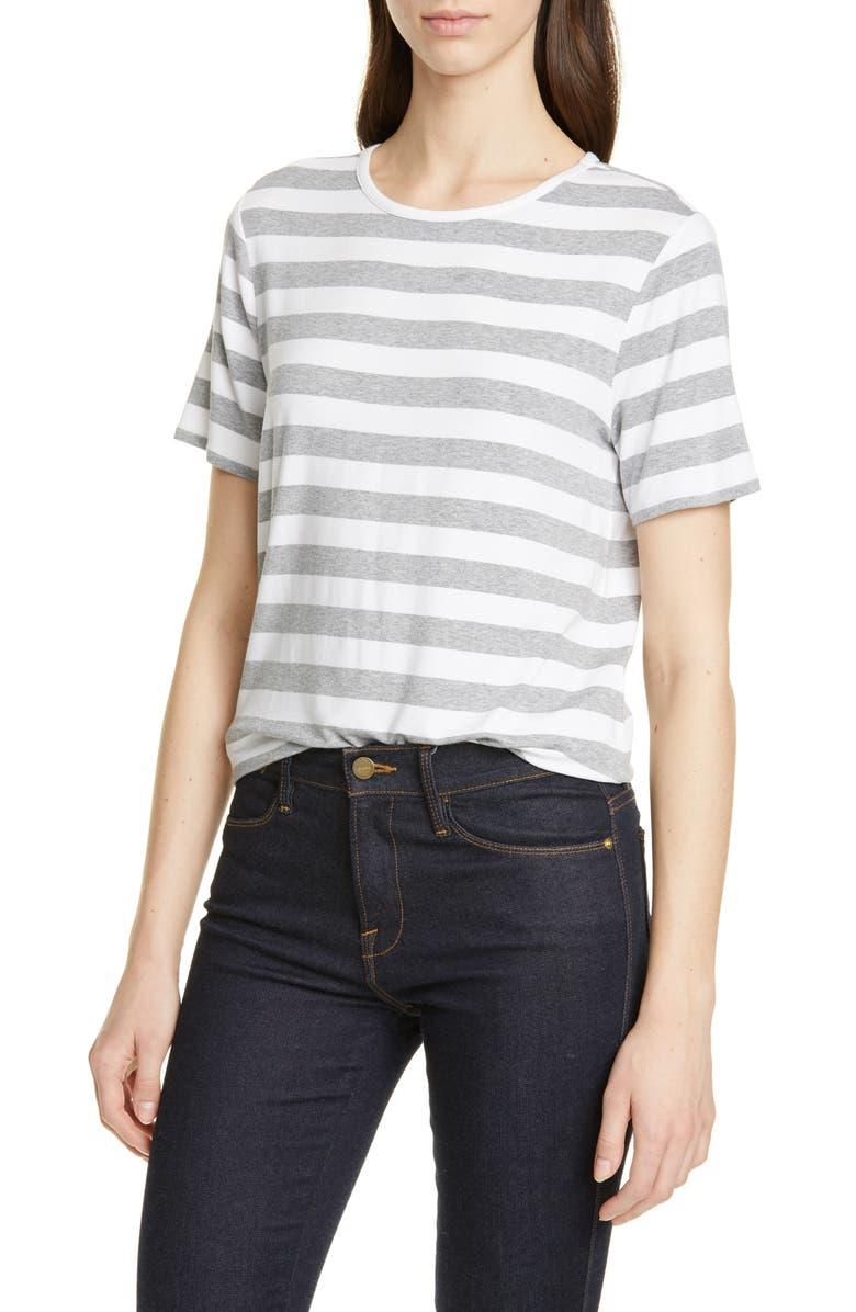 NORDSTROM SIGNATURE Stripe Tee, Main, color, WHITE- GREY EVEN STRIPE