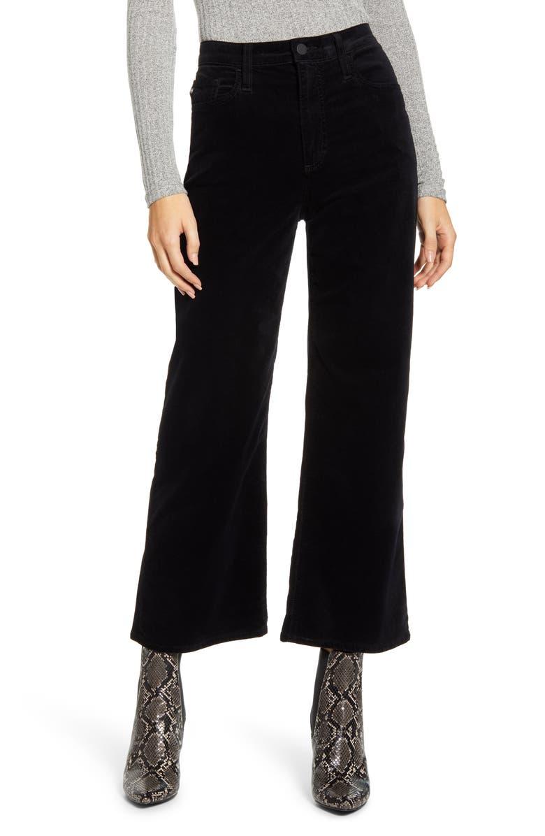 AG The Etta High Waist Velvet Crop Wide Leg Pants, Main, color, SUPER BLACK