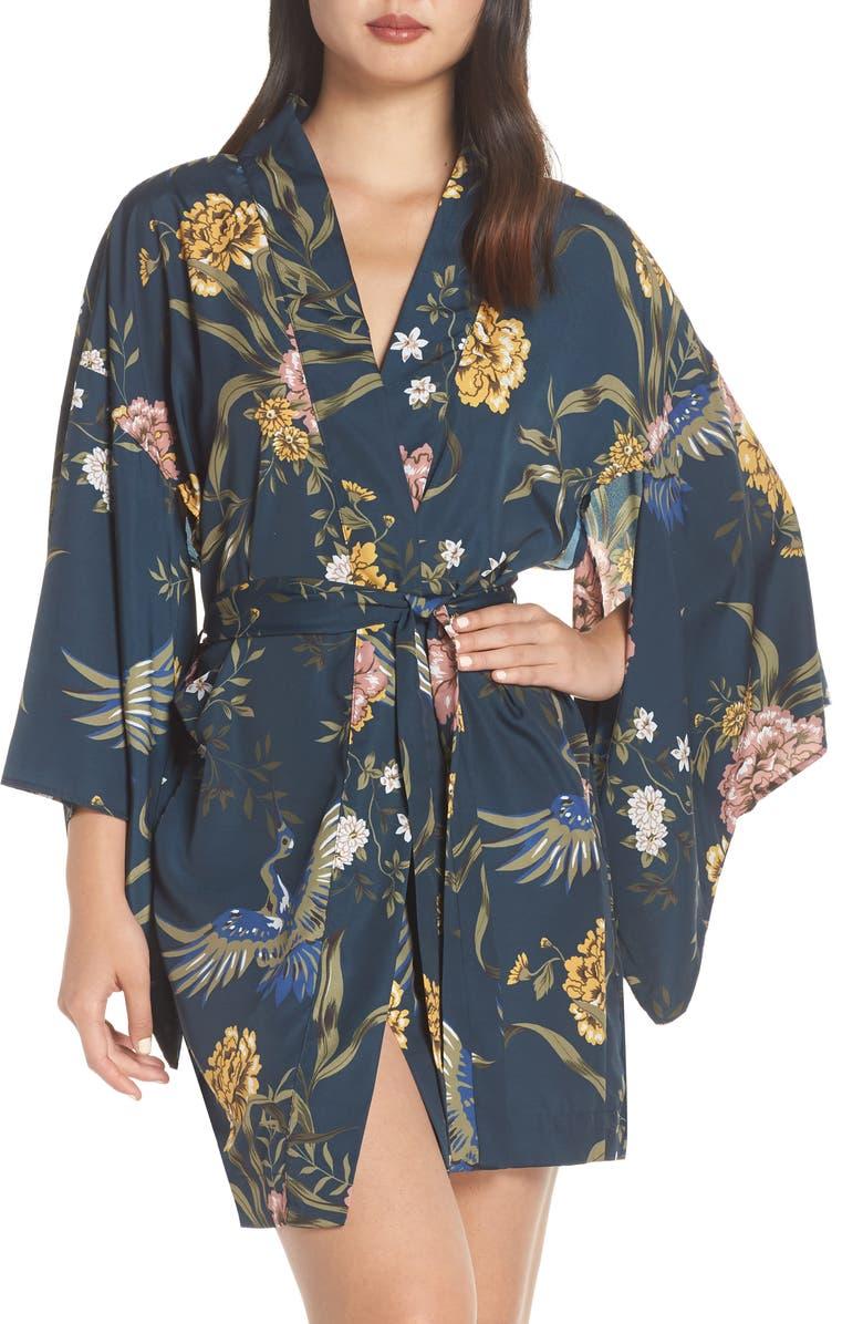 MAISON DU SOIR Tokyo Short Robe, Main, color, BLUE SWAN FLORAL