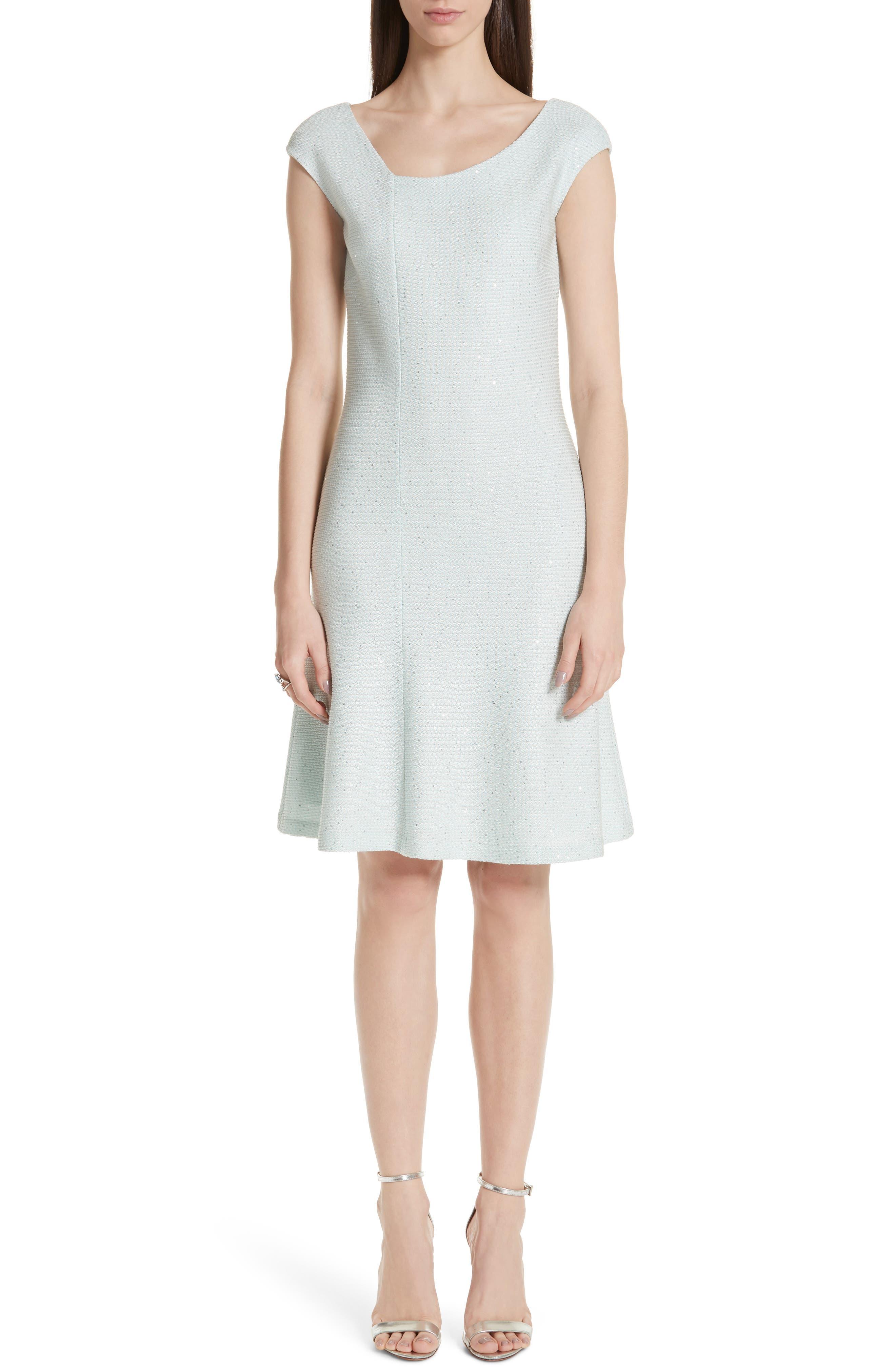 St. John Collection Links Asymmetrical Neck Sequin Knit Dress, Blue