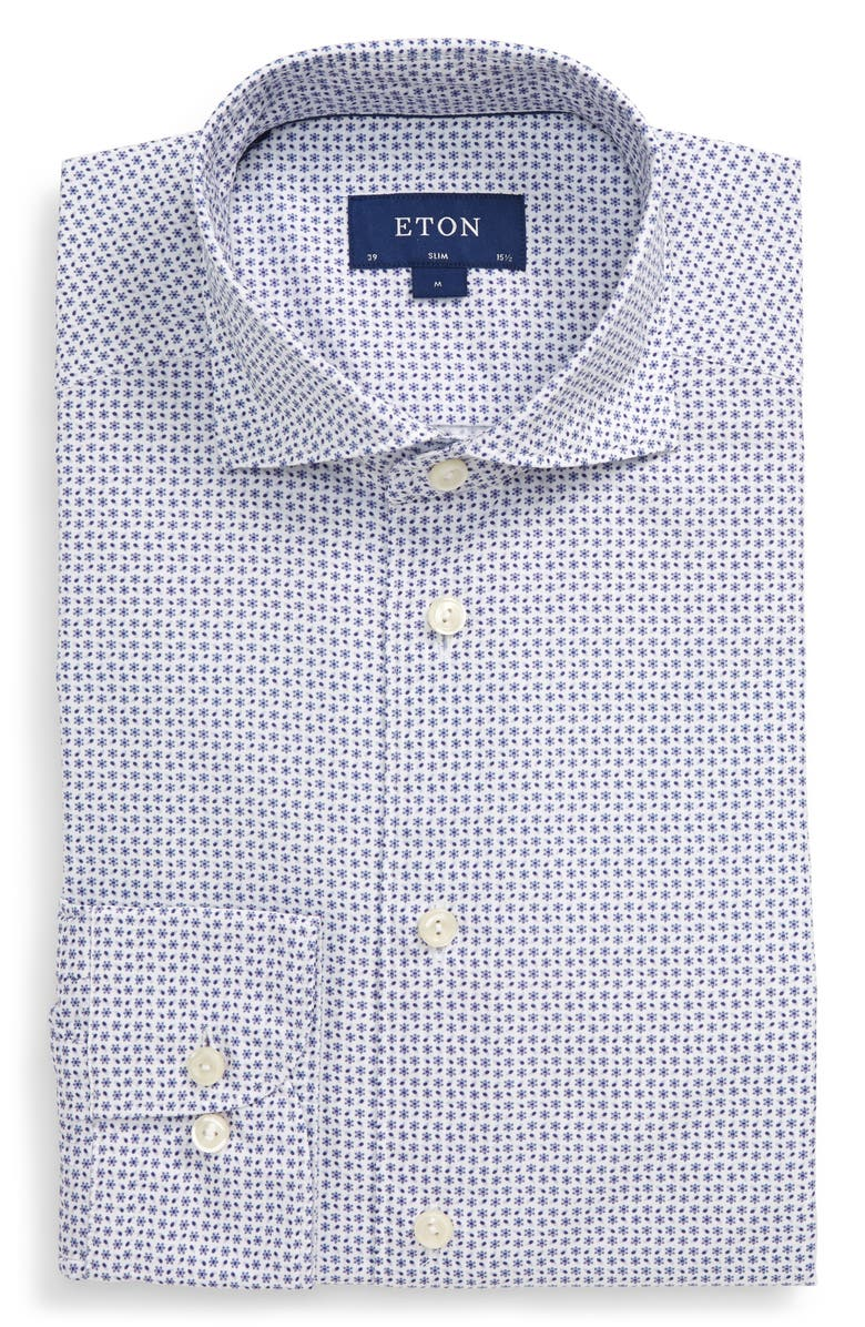 ETON Soft Casual Line Slim Fit Floral Button-Up Shirt, Main, color, PURPLE