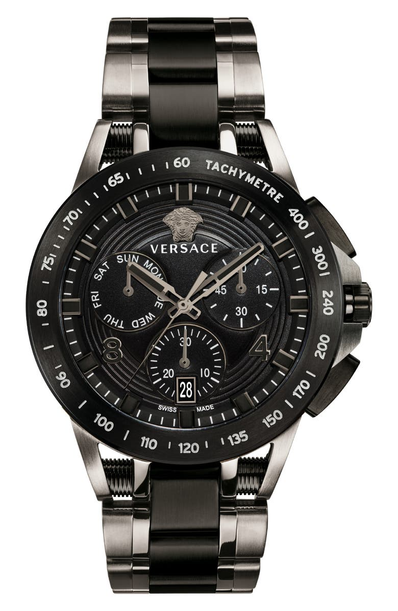 VERSACE Sport Tech Chronograph Bracelet Watch, 45mm, Main, color, 020