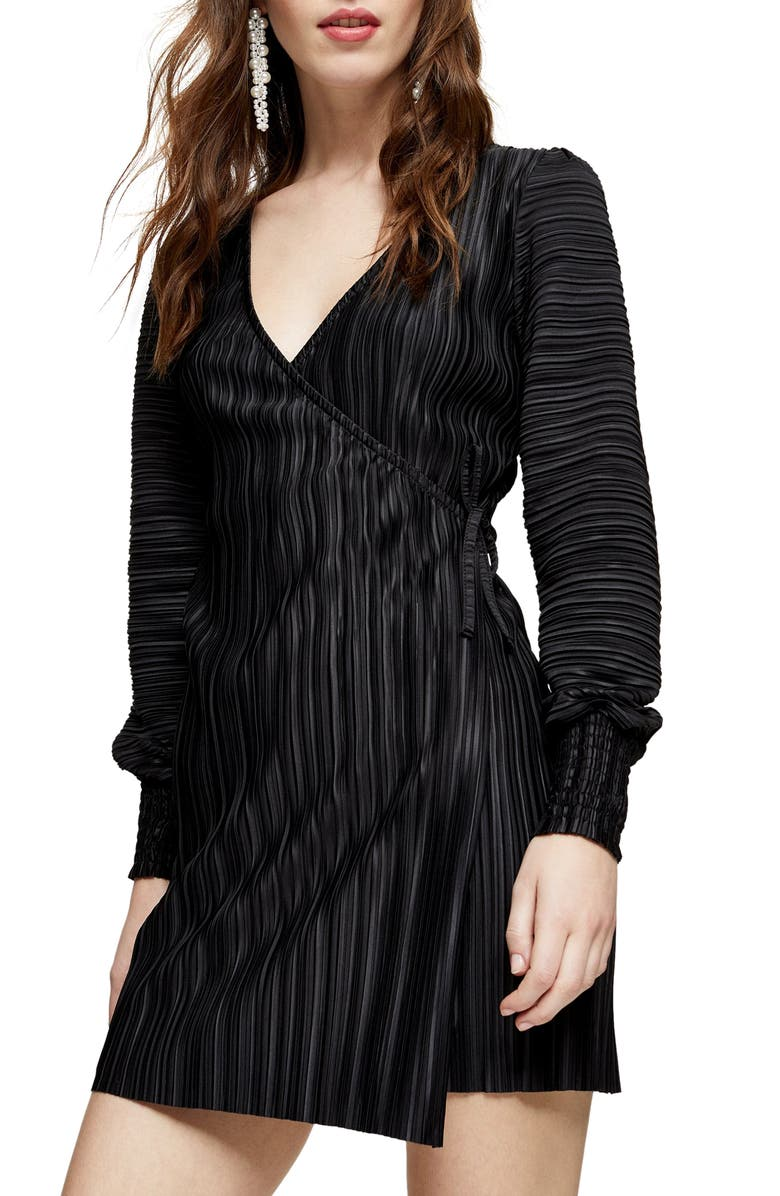 TOPSHOP Long Sleeve Plissé Wrap Minidress, Main, color, BLACK