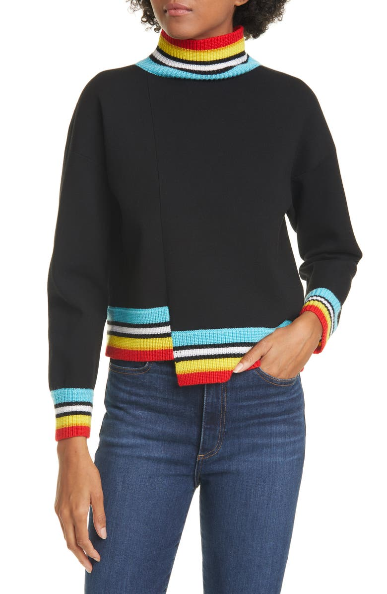 ALICE + OLIVIA Aleta Asymmetrical Pullover, Main, color, BLACK/ MULTI
