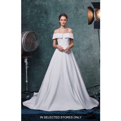 Sareh Nouri Angelina Off The Shoulder Faille Wedding Dress, Size - Ivory