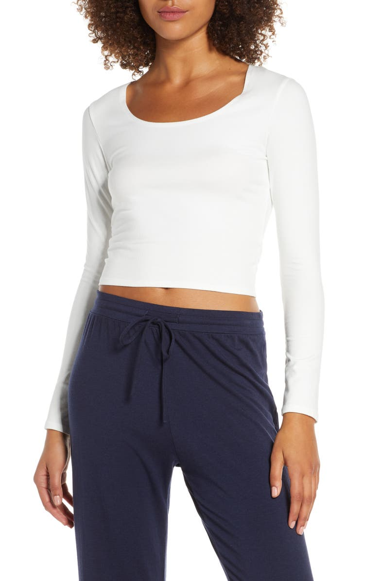 GROCERIES APPAREL Lola Stretch Organic Cotton Crop Top, Main, color, WHT