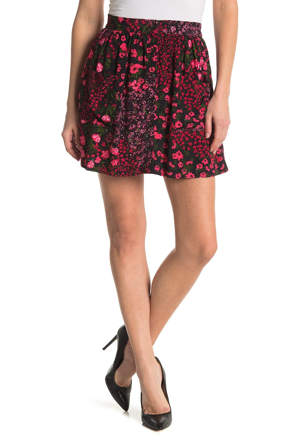 Image of Elodie Button Front Floral Print Mini Skirt