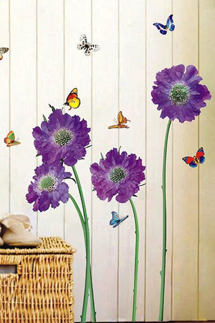 Image of WalPlus Purple Flower Wall Sticker