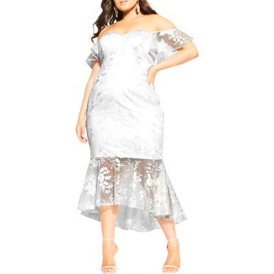 Plus Size City Chic Dress Aflutter Cocktail Dress, White
