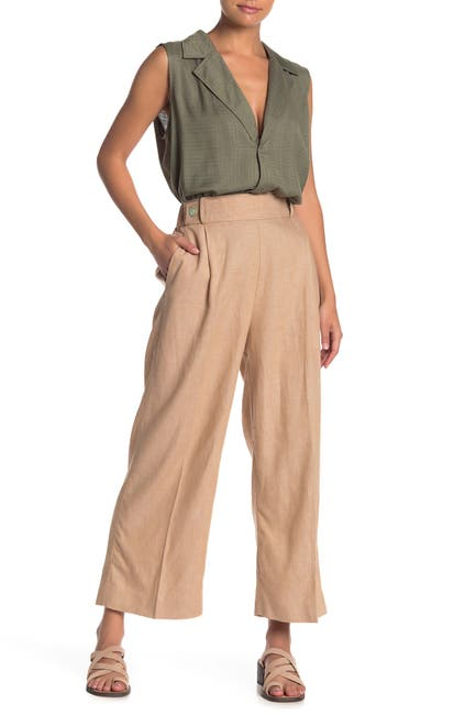 Image of NANETTE nanette lepore Wide Leg Linen Blend Pull-On Pants