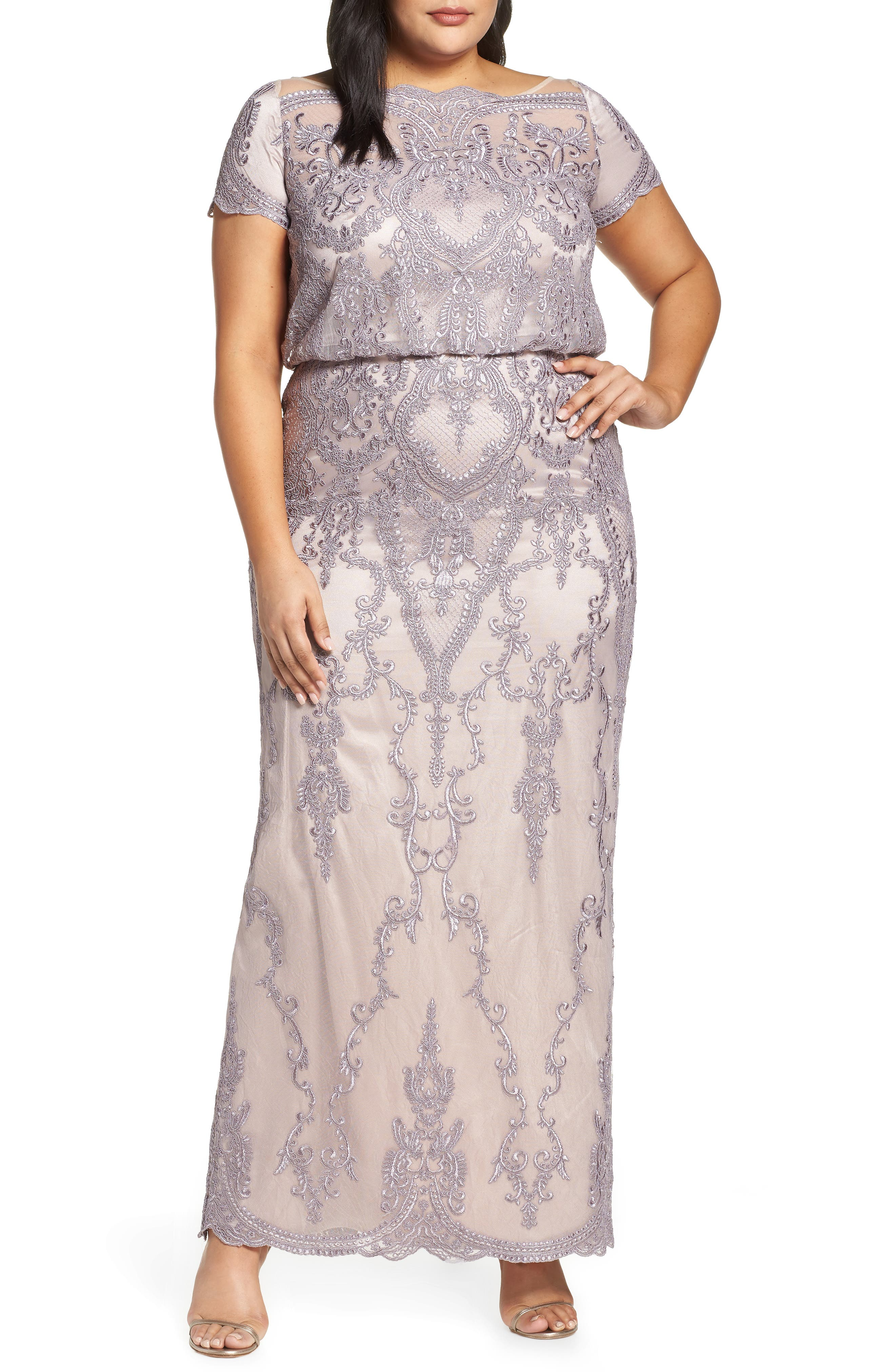 Scallop Embroidered Blouson Evening Dress, Main, color, DUSTY LAVENDER