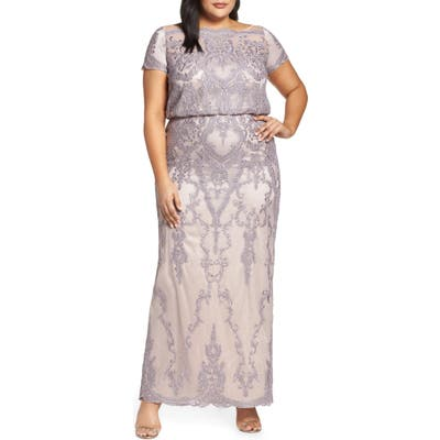 Plus Size Js Collections Scallop Embroidered Blouson Evening Dress, Purple